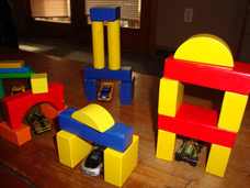 Practice Fine Motor Skills with Wooden Blocks & Cars